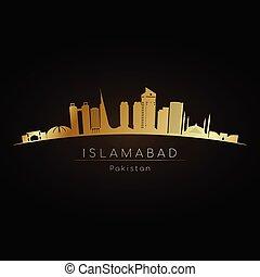 Golden logo Islamabad skyline.