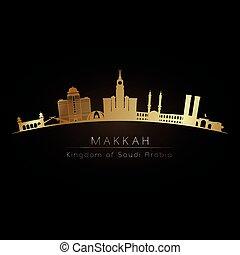 Golden logo makkah skyline.