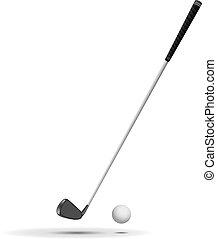 Golf ball and club vector ilustrado