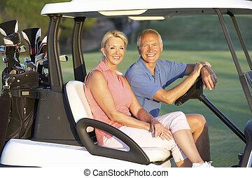 golf, pareja, calesa, curso, equitación, 3º edad