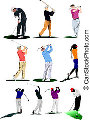 golf, players., ilustración, vector