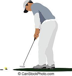 Golfer bateando con palo de hierro