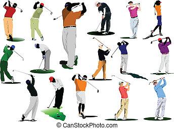 Golfer bateando con palo de hierro.