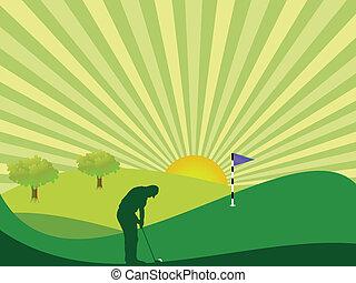 Golfer en el campo