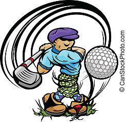 golfista, caricatura, pelota, club, balanceo, tee, golf