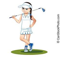 Golfista con palo de golf