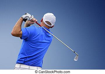 golfista, pelota, golf, disparando