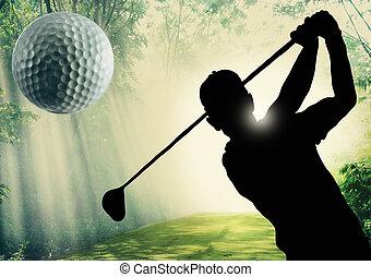 golfista, pelota, verde, poniendo