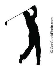 golfista, silueta, -, acabado, golf, deporte, tee-shot