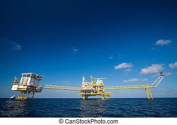 golfo, gas, plataforma, aceite