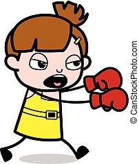 Golpeando - chica linda dibujo animado ilustración vector de caracter