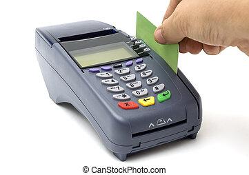 golpeando, tarjeta de crédito, pos-terminal