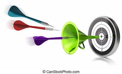 golpear, centro, embudo, encima, tres, ayudado, fondo verde, dardos, blanco, imagen, blanco