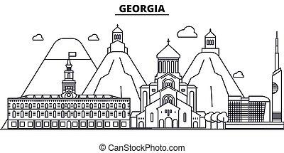 golpes, cityscape, vistas, paisaje, vector, señales, illustration., famoso, diseño, wtih, línea, arquitectura, contorno, ciudad, georgia, lineal, editable, icons.