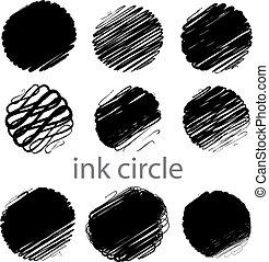 golpes, grunge, (individual, cepillo, conjunto, vector, círculo, objects).