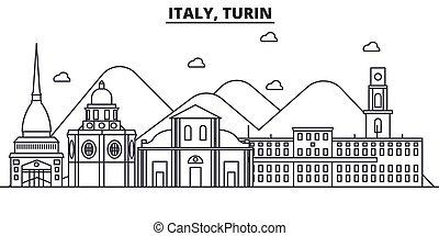 golpes, vistas, diseño, cityscape, paisaje, vector, contorno, ciudad, lineal, editable, turín, icons., señales, línea, arquitectura, illustration., famoso, wtih, italia