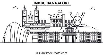 golpes, vistas, diseño, cityscape, paisaje, vector, india, contorno, ciudad, lineal, editable, icons., señales, línea, arquitectura, bangalore, illustration., famoso, wtih