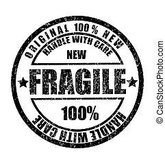 Goma de goma con el texto frágil