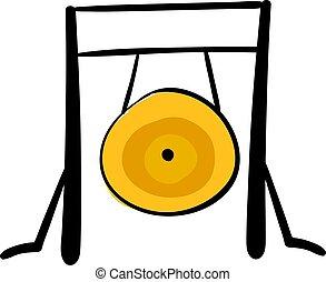 Gong dorado, ilustración, vector de fondo blanco.