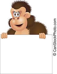 Gorila con una señal en blanco
