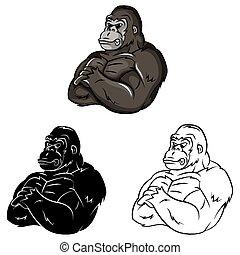 gorila, libro colorear, caracter