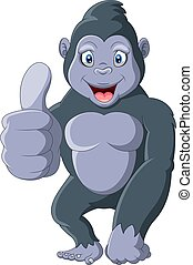 gorila, pulgares arriba, divertido, caricatura