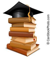 gorra, libros, pila, graduación