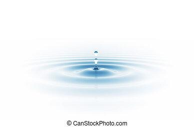 gota agua, aislado, blanco