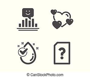 gota, amor, sonrisa, vector, signo., corazón, desconocido, aqua., reacción, archivo, agua, positivo, clasificación, limpio, icons.