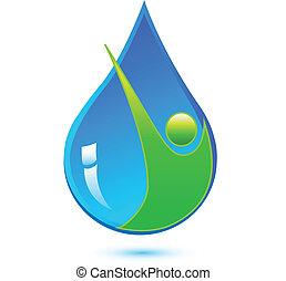 Gota de agua y logotipo de hombre sano
