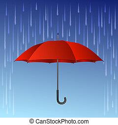 gotas, paraguas, rojo, lluvia