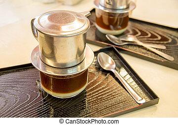 goteo, tabla, estilo, vietnamita, café