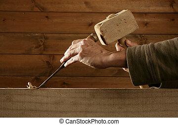 gouge, herramienta, cincel, carpintero, mano, madera, martillo