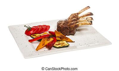 Gourmet principal plato de carne de cordero asada