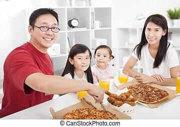 gozar, familia , su, cena, asiático, hogar, feliz