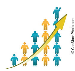 gráfico, actuación, crecimiento, gente