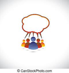 gráfico, colorido, hablar, gente, charlar, communicating.