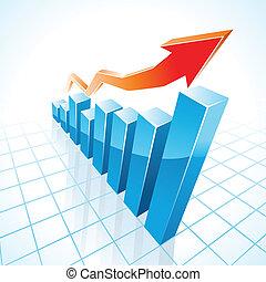 gráfico, crecimiento, barra, empresa / negocio, 3d