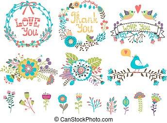 Gráfico de boda dibujado a mano. Flores y coronas para las invitaciones