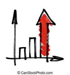 Gráfico de negocios exitoso con flecha roja.