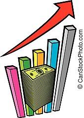 Gráfico de negocios positivo con flechas y una gran pila de dinero - concepto de negocios