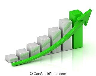 gráfico, empresa / negocio, barras, crecimiento, verde, flecha