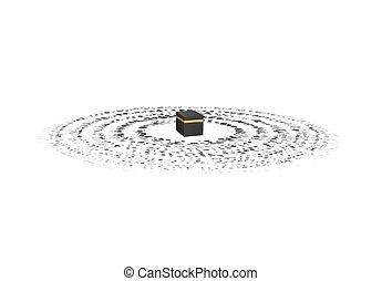 gráfico, hajj, around., umrah., drawing., ilustración, direction., santo, kaaba, resumen, vector, simple, gente, oración, kaabah
