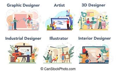 gráfico, interior, 3d, industrial, concepto, set., diseñador, diseñador
