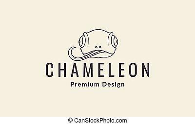 gráfico, líneas, vector, logotipo, ilustración, símbolo, diseño, cabeza, camaleón, icono