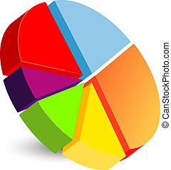 gráfico, pastel, icono
