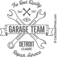 Gráficos de diseño clásico del servicio de garaje, clásicos de Detroit, impresión tipografía de servicio de reparación. Estampado de camiseta negra, teeshirt gráfico, arte retro premium. Lo mejor para el emblema, logo. Vector
