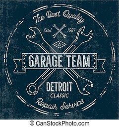 Gráficos de diseño clásico del servicio de garaje, clásicos de Detroit, impresión tipografía de servicio de reparación. Estampado de camiseta, camiseta gráfica, arte retro premium. Usar como emblema, logo en proyectos web. Vector