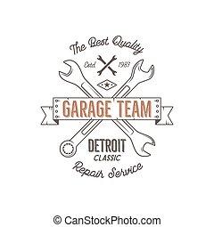 Gráficos de diseño clásico del servicio de garaje, clásicos de Detroit, impresión tipografía de servicio de reparación. Estampado de camiseta, camiseta gráfica, arte retro premium. Usar como emblema, logo, etiqueta. Vector.