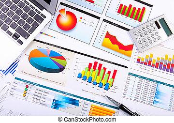 gráficos, gráficos, mesa de negocios.